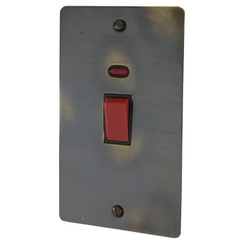 G&H FAN28B Flat Plate Polished Aged Brass 45 Amp DP Cooker Switch & Neon Vertical Plate